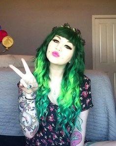 green hair and tattoos Locks, Rock Star Hair, Wacky Hair, Creative Hair Color, Coloured Hair, Cut My Hair, Scene Hair, Crazy Hair, Rainbow Hair