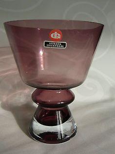 IG  INGRID GLAS Kristall IKEBANA Schale Pokal Vase 60er violett lila  H 14,2 cm