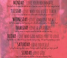 Free Printable for Love Week! Such a fun college dorm or Relief Society activity to show your love for others!