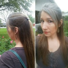 """10 month gray grow out.  Thin lowlights were added several weeks ago to break up the """"grow-out ring""""."""