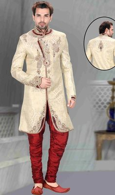 Evoke a vibe of confidence and zest in this beige embroidered brocade men's sherwani. The gorgeous moti, patch, resham and velvet patch work a significant characteristic of this sherwani. Brocade might vary from actual image. #NewLatestCollectionForMenSherwani