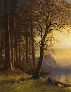 Oil painting Albert Bierstadt - Sunset in California - Yosemite stunning view Paintings I Love, Love Painting, Poetry Painting, Landscape Art, Landscape Paintings, Landscapes, Yosemite California, Yosemite Valley, California Sunset