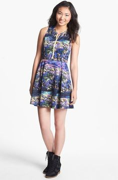 Lush Zip Front Print Skater Dress (Juniors) - ShopStyle 6e8d99c5c