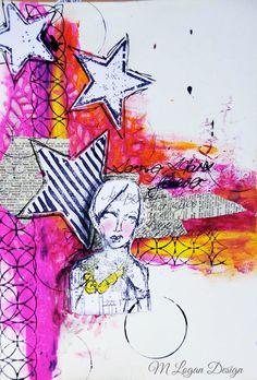 Seeing Stars art journal page by Michelle Logan, featuring Scrap FX  Interweaving circles stamp.  www.scrapfx.com.au