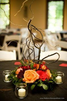 Curly Willow, Rose, Dahlia and Gomphrena Centerpiece by The French Bouquet - Chris Humphrey Photographer