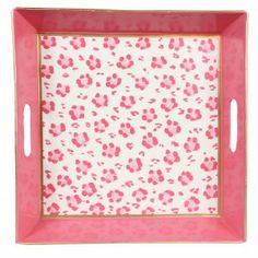 Pink Square Tray that have designed finger prints of Leopard Pink Square Tray from Jayes online Store