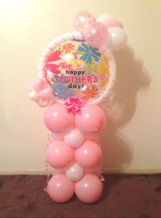 Happy Mother's Day Bubble Mini Column Pink and White Flower Butterfly Pretty Balloons