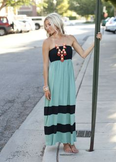 Light Mint and Black Striped Tube Maxi Dress-