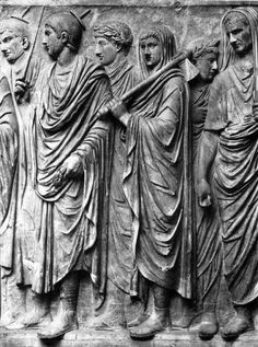 Flamines from the south frieze of Augustus' Ara Pacis. The flamines were Roman priests attached to the cult of an individual god. Roman Sculpture, Modern Sculpture, Roman History, Art History, Ancient Rome, Ancient History, Pax Romana, Sculpture Techniques, Roman Art