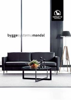 Hjellegjerde, Mandal sofa, Black leather, 3 seter duo. Skeidar. Spinnaker glass table.