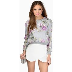Tobi Drina Sweatshirt (£16) ❤ liked on Polyvore featuring tops, hoodies, sweatshirts, grey floral, grey sweatshirt, gray top, floral sweatshirts, flower print tops and mesh top