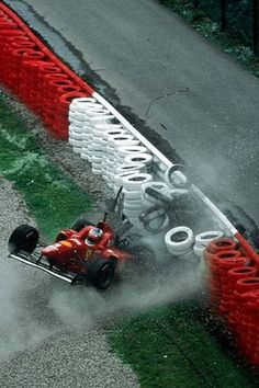 Race winner Michael Schumacher (GER) Ferrari F310 suffered a heavy crash during Friday practice which he emerged from uninjured. Belgian Grand Prix, Rd 13, Spa-Francorchamps, Belgium, 25 August 1996. World © Sutton