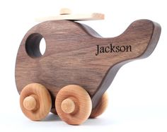 personalized HELICOPTER wooden toy  all natural by SmilingTreeToys, $28.00