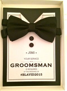 Groomsman proposal - Will you be my groomsman? https://www.etsy.com/uk/listing/216730254/personalised-groomsman-proposal-bow-tie?