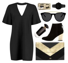 """""""Black/Gold Mules Simple Set"""" by virginia-laurie ❤ liked on Polyvore featuring Boohoo, Vince Camuto, Victoria's Secret, Smoke x Mirrors, CLUSE, Chiara Ferragni and Steve Madden"""