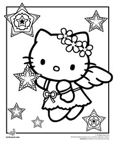 Image Detail For Kitty Christmas Coloring Pages Hello Snow Angel Page