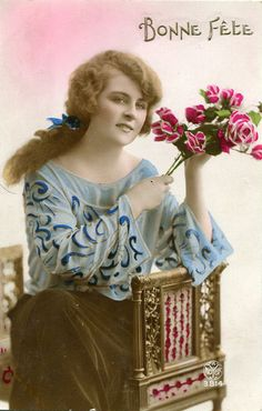 Vintage French hand tinted photo postcard  by SistersScrapbooking, $4.75