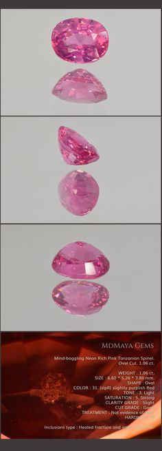 Mind-boggling Neon Rich Pink Tanzanian Spinel. Oval Cut. 1.06 ct. Loose Gemstones for sale MdMaya Gems