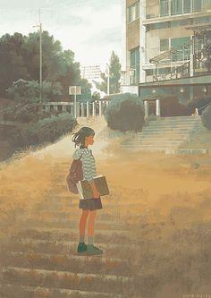 Jun Kamaori's Isolated People in the Landscape Comics Illustration, Illustrations, Amazing Drawings, Art Drawings, Slice Of Life Anime, Art Corner, Arte Disney, Beautiful Fantasy Art, Pretty Art