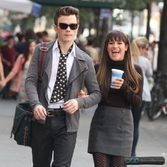 Photos of Chris Colfer and Lea Michele filming Glee season 4 in NYC.