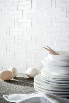 Fireclay Tile | Chaine Homme pattern in White Gloss | https://www.fireclaytile.com/tile/patterns/detail/chaine-homme/