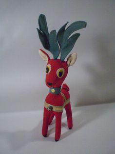 """Vintage Dakin Dream Pets Red Reindeer Deer Japan Santa's Helper 10"""""""