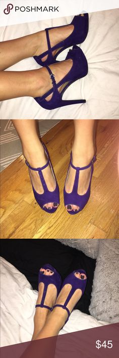 GUESS Purple T-Strap heels Gorgeous royal purple suede peep toe heels by Guess. Size 7. Guess Shoes Heels