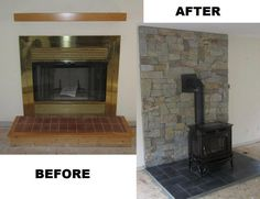 Drafty fireplace was removed and we replaced it with a high efficiency wood stove, with stone veneer and marble hearth.