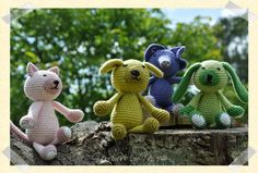 Handmade by Henriette: Små hæklede dyr Cute Creatures, Garden Sculpture, Dinosaur Stuffed Animal, Teddy Bear, Crochet, Handmade, Animals, Link, Places