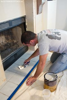 Update your fireplace hearth by losing the old tile look and changing into a concrete or stone look with - SkimStone Bonding Primer Faux Concrete - Lettered Cottage