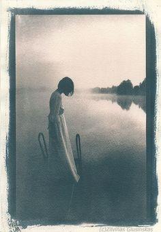 Cyanotype blue print - Girl photo, Misty Morning photography, Early Morning photo, Lake photo, Romantic Woman photo, Morning Mist photo by Altphotos on Etsy