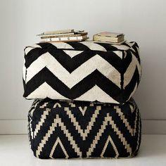 Ethnic style fabrics: black & white poufs