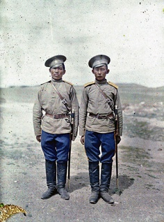 Mongolia in colour, 1913. Two Cossack soldiers in Urga.