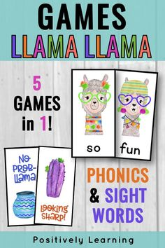 Llama Llama Phonics and Sight Word Games! This is an adorable theme with five games in one set! Mix and match to differentiate for your kindergarten and first grade students. Extra sets can be added to your Guided Reading Daily 5 Word Work! The sweet llama theme can be used all year long. #llamallama #llamacenters