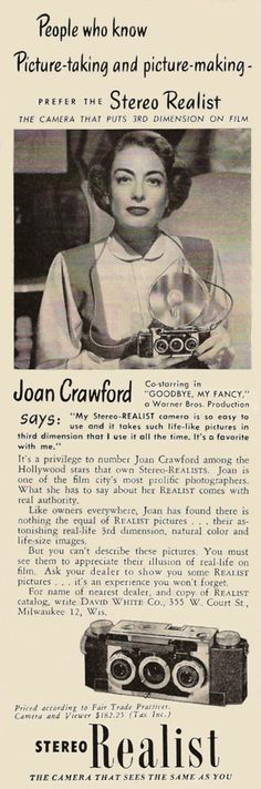 Joan Crawford magazine ad for the Stereo Realist camera, 1951.