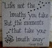 Life is not about the breaths you take, but the moments that take your breath away.