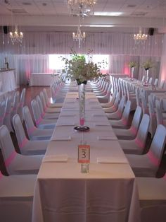Simple decor: white with Twinkly lights and Chandeliers. Chandeliers, Rowing Club, Stanley Park, Lights, Table Decorations, Receptions, Simple, Vancouver, Home Decor