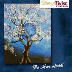 """It's a little bit of paint, a little bit of wine and a whole lot of fun this Sat July 9th at 7pm when Blue Moon Harvest"""" is on the easel. Bring your friends and your snacks cause painting and sipping is a lot of fun with great company and fun art! Join us Painting with a Twist – Indy! ©Painting with a Twist."""
