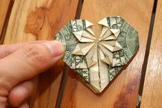 How to Fold a Dollar Into a Heart: 19 steps (with pictures)--it turned out great with foreign money too!