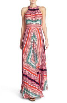 Eliza J Scarf Print Crêpe de Chine Fit & Flare Maxi Dress (Regular & Petite)