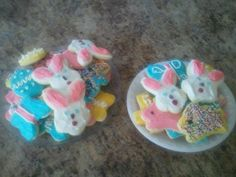 Easter Cookie Recipe:    *cream 1 lb butter & 2 cups sugar  *add 8 egg yolks + 1 whole egg  *add 1/4 tsp baking soda, 4 tsp baking powder, 1 tsp salt, and 2 tsp vanilla  *Alternate adding 7 - 7 1/2 cups flour & milk --forms soft dough  *Refrigerate 3-4 hrs    *roll 1/4 dough on generously floured surface.  *use cookie cutters  *bake on ungreased sheet at 350 for 10-11 minutes  *cool completely.   *decorate