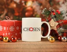 Chosen, Crown of Thorns Christian faith Mug, stocking stuffer holiday decor gifts, Christmas gift for moms, dad gift,