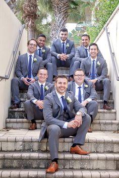 Gray Suits Navy Ties Groomsmen | Hammock Beach Resort, FL | Florida Wedding Photographer | www.sarapuryphotography.com