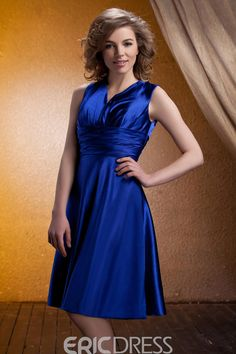 EricDress - EricDress Concise Ruched A-Line Knee-Length V-Neck Bridesmaid Dress - AdoreWe.com