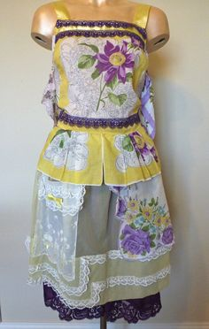 Apron Dress Top and Skirt Upcycled Hankerchiefs Sunshine and Flowers Yellow and Purple $185 by ByKatDesigns on Etsy