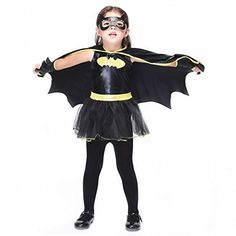 Halloween Girls Costumes Dress And Cape Children Toddler Batgirl Batman Costume (7/8) * Click image to review more details. (This is an affiliate link) #waves