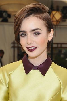 """""""There's something really cool about having the back short with longer pieces around the front, creating more of a face-framing wave,"""" Cho says. And Lily Collins's cut is the epitome of cool.   - Cosmopolitan.com"""