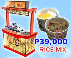 Rice Mix (Rice-in-a-box). What we offer is a quality cart, a complete set of equipment (with warranty), utensils, and products. You can start the business in just 2 weeks. You can also sell other products inside the cart. No restrictions. Products: Rice mixed with Meats (Beef, Chicken, Pork, Kani), Veggies & Sauces (Teriyaki, Oyster, Sweet Chili, BBQ); Red Iced Tea, other drinks preferred by client; SRP: P32-49/serving