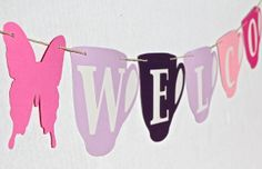 WELCOME Banner Bunting Sign. Tea Party/ by greenbutterflydream, $15.00