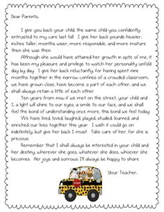 Letter for parents at end of year